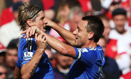 Fernando Torres celebrates scoring against Arsenal
