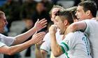 Ireland's Robbie Keane, second right, celebrates his spot kick