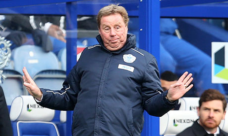 QPR's Harry Redknapp gestures, watched by Tottenham Hotspur manager, André Villas-Boas