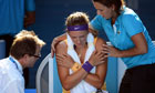 Victoria Azarenka receives treatment at the Australian Open