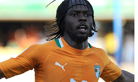 The Ivory Coast striker Gervinho celebrates scoring