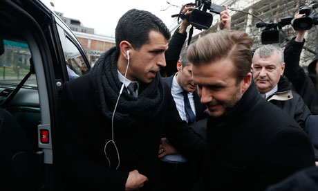 David Beckham at the Pitie-Salpetriere hospital for his medical in Paris