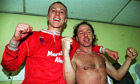 Steve Watkin and Mickey Thomas, Wrexham's goalscorers, celebrate 1992 FA Cup win against Arsenal