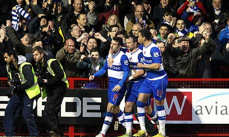 Reading celebrate scoring against Crawley Town