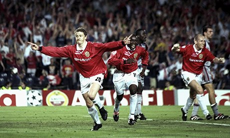 Ole Gunnar Solskjaer of Manchester United celebrates his late winner against Bayern Munich in 1999