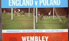 Front cover of England versus Poland programme 17th October 1973 World Cup Qualifying Round Group 5