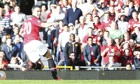 Robin van Persie of Manchester United scores against Southampton in the Premier League