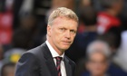 David Moyes leaves the pitch after Manchester United conceded a late equaliser to Southampton