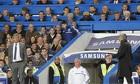 Chelsea manager Jose Mourinho shouts towards Manchester City manager Manuel Pellegrini