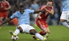 Micah Richards, left, and Franck Ribéry in Manchester City's Champions League tie with Bayern Munich