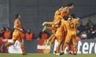 Real Madrid players celebrate Luka Modric's goal against FC Copenhagen