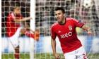 Benfica's Nicolás Gaitán celebrates scoring against Paris Saint-Germai