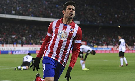 Diego Costa celebrates scoring Atletico Madrid's opener against Valencia