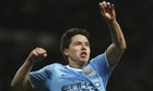 Samir Nasri celebrates Manchester City's third goal during the match against Swansea City