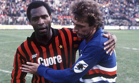 Milan's Luther Blissett with Trevor Francis