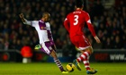Fabian Delph shapes up to drive home Aston Villa's late winner against Southampton.