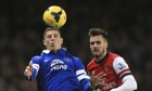 Everton's Ross Barkley shows his contol and composure under pressure from Carl Jenkinson of Arsenal.