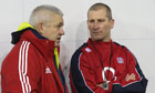 Stuart Lancaster, right, talks to Warren Gatland