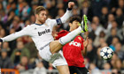 Sergio Ramos in action against Manchester United
