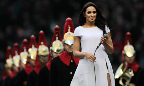 Laura Wright prepares to perform before the England v France match in