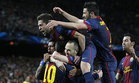 Barcelona players celebra 008 Arsenal salvage some pride, PSG want Rooney, Lewandowski eyes United & the away goals rule sucks!
