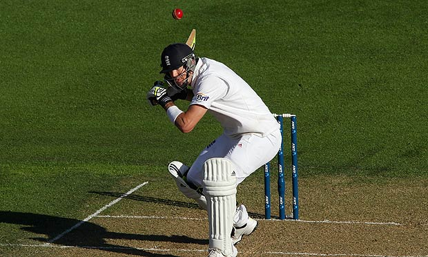 Kevin Pietersen of England ducks under a bouncer.