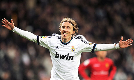 Real Madrid's Luka Modric celebrates after scoring in their La Liga victory against Real Mallorca