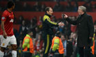 Sir Alex Ferguson berates the fourth official as Nani is sent off