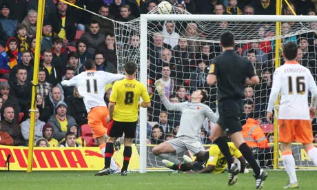 Blackpool's Thomas Ince scores the equaliser for the side at Watford