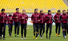 Rubin Kazan players run during a training session at Luzhniki stadium in Moscow