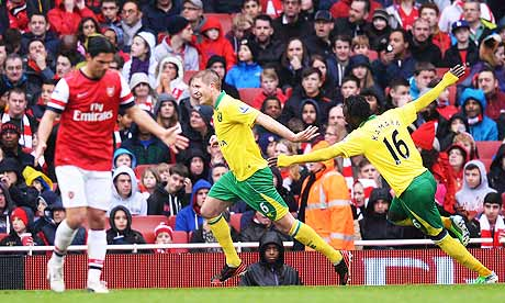 Norwich City's Michael Turner, centre, scored against Arsenal in the Premier League
