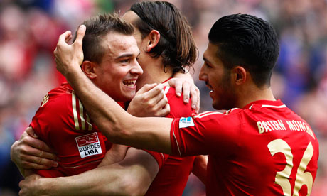 Bayern Munich's Xherdan Shaqiri, Daniel van Buyten and Emre Can celebrate at the weekend