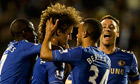 Chelsea's David Luiz celebrates with team-mates including John Terry after scoring at Fulham