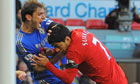 Luis Suarez clashes with Branislav Ivanovic