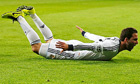 Real Madrid's Gonzalo Higuaín celebrates against Galatasaray in the Champions League quarter-final