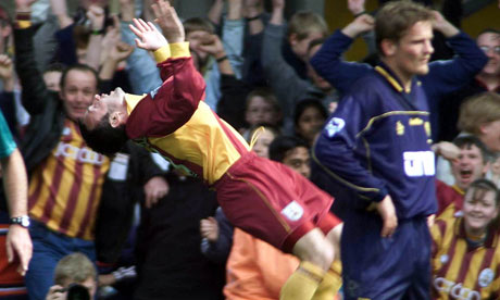Bradford City's Peter Beagrie celebrates his penalty which put his side ahead against Wimbledon