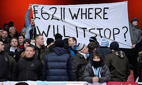 Manchester City fans complain about the price of away tickets at the Emirates