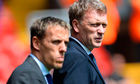 Everton's Phil Neville, left, with David Moyes