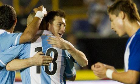 Argentina's Lionel Messi celebrates after scoring against Guatemala