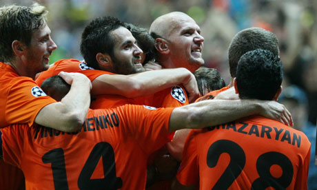 Shakhter Karagandy's players celebrate during the win over Celtic