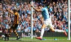 Manchester City's Alvaro Negredo celebrates scoring against Hull CIty at the Etihad Stadium