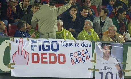 Barcelona fans make their feelings clear