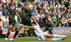 Dylan Hartley scores a try for Northampton against Exeter