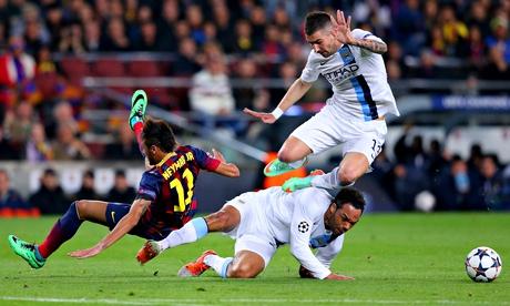 Joleon Lescott and Aleksandar Kolarov collide with Neymar as Manchester City struggled to contain Barcelona.