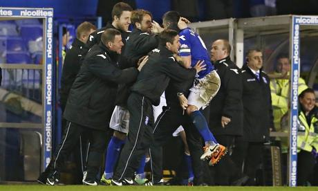 Federico Macheda celebrates after Birmingham's late equaliser
