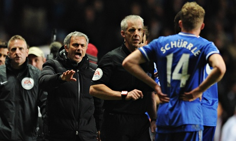 José Mourinho encroaches on to the Villa Park turf to remonstrate with Chris Foy