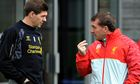 Brendan Rodgers, right, and Steven Gerrard of Liverpool