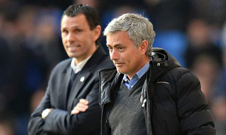 Chelsea manager Jose Mourinho and Sunderland manager Gus Poyet