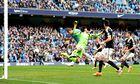Manchester City Edin Dzeko scores against Southampton in the Premier League at Etihad