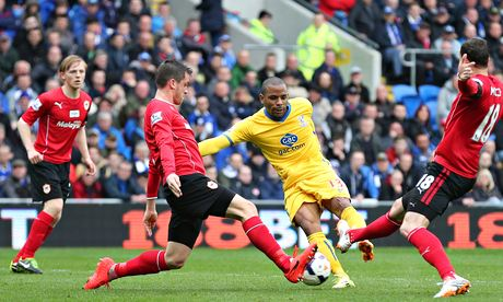 Crystal Palace's Jason Puncheon scores the first goal at Cardiff City in the Premier League.